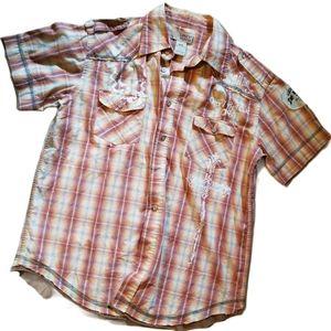 SARGENT PEPPER Rust Plaid Shirt (Size M)